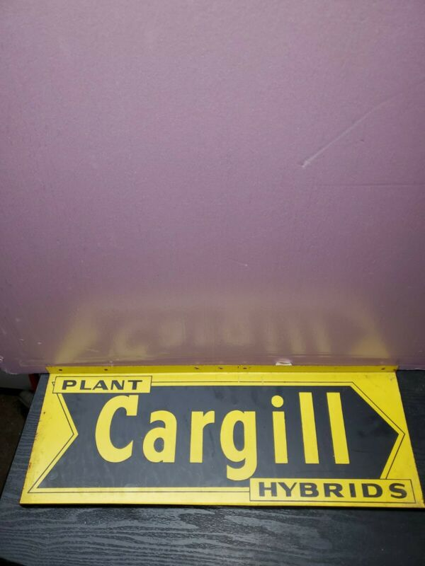 Vintage PLANT CARGILL HYBIRDS Double Sided Metal Sign