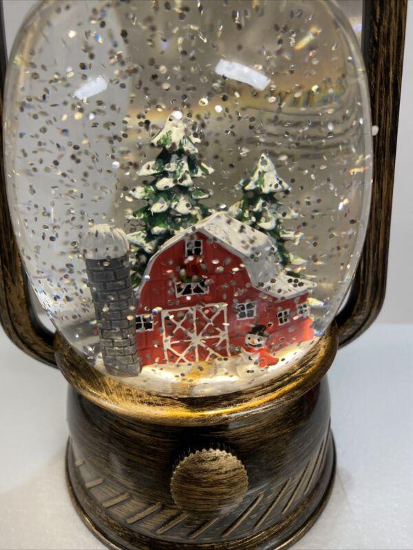 "Water SNOW globe SWIRLING Lighted Lantern 8"" (N8) Red Barn Snowman Christmas"