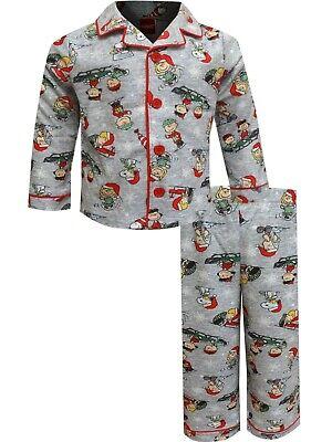 Peanuts Gang Charlie Brown Coat Pajama Set Toddler Boys' Gray Flannel Christmas Brown Boys Pajamas
