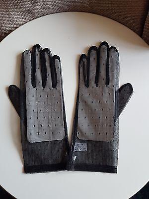 Ladies Black Sheer Patterened Nylon Dress Gloves - pack of 12