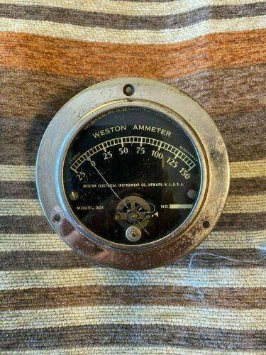 Vintage Weston Ammeter Model 301 Glass Gauge 0-150