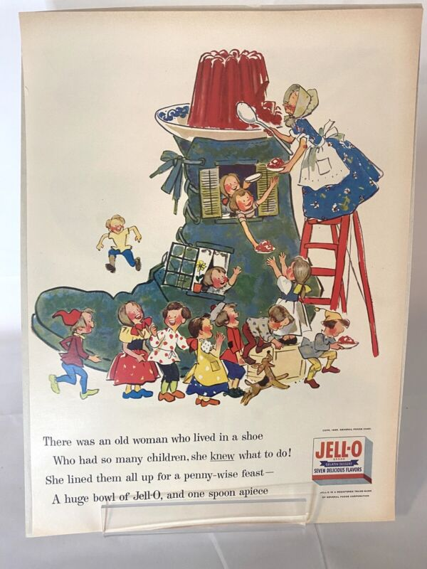 1955 JELL-O Vintage Print Ad - Old Woman in a Shoe - Jello Nursery Rhymes