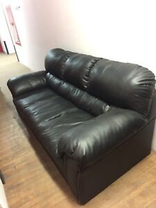 Black Leather 3 Person Couch