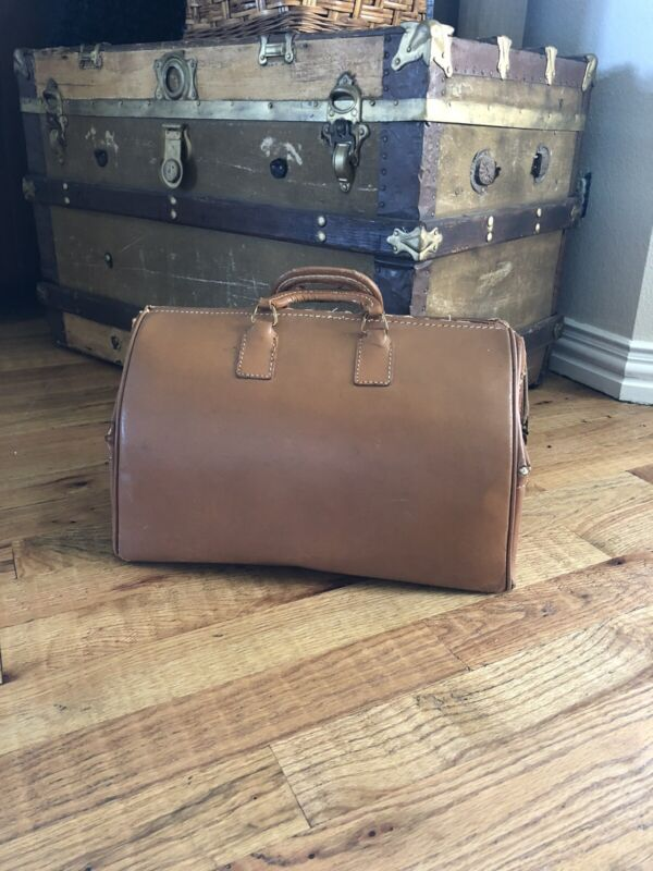 Vintage Large Medical Doctors Brown Bag Leather