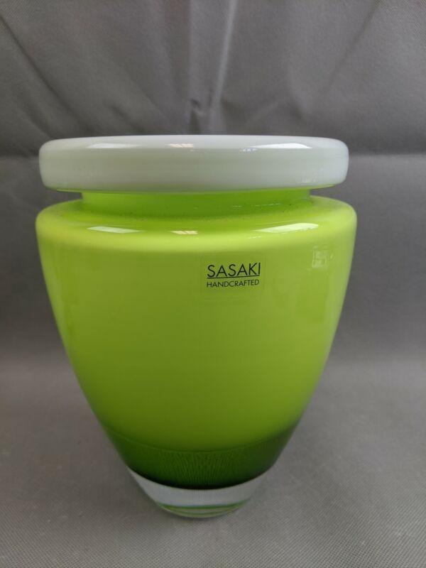"Stunning 8"" Lime Green White Clear SASAKI Art Glass Vase Soichiro Sasaki Japan"