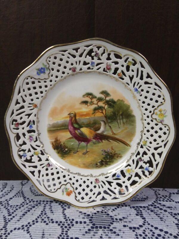 "Schumann Bavaria China PHEASANT Bird Pierced Filigree 10"" Dinner Plate Gold Trim"