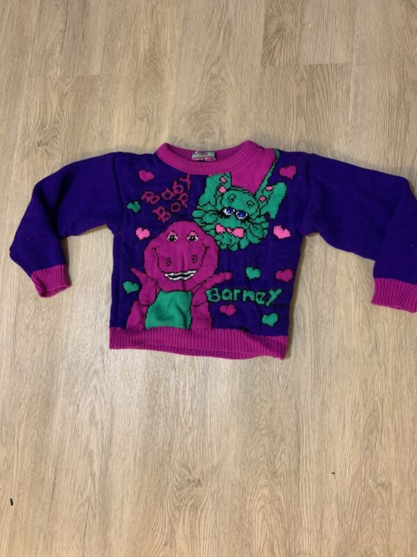 Barney Baby Bop Sweater Kids 1992 VINTAGE