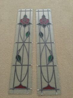 Stained glass sidelight window panels