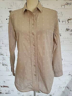 Liz Claiborne Womens Tan Long Slv Cotton Print Button Down Shirt Blouse Top M