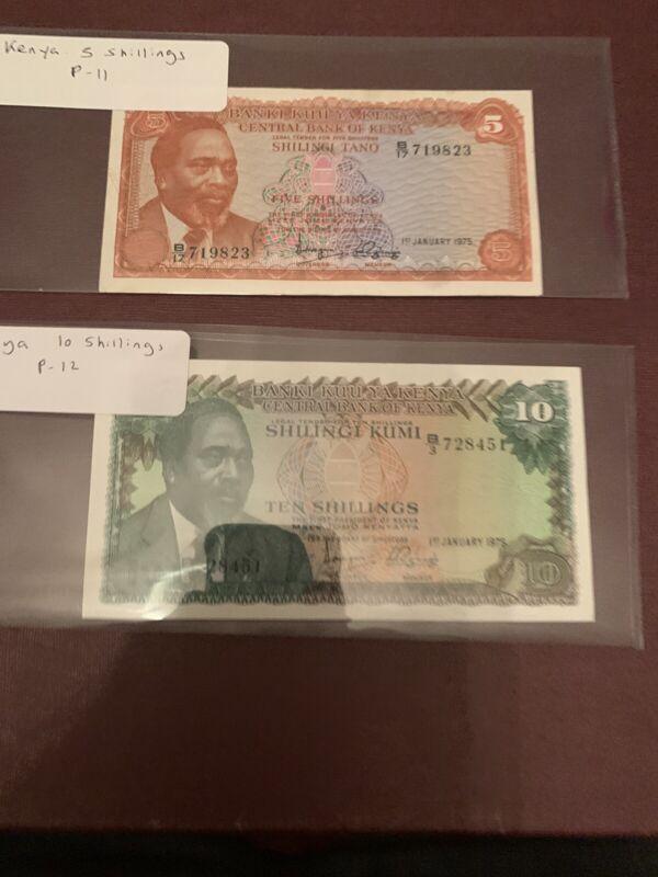 KENYA 10  5 SHILLINGS 1977,  P12 UNC, 11 VF+