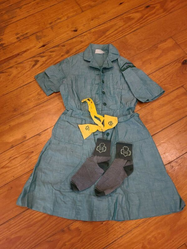 VTG 1970s Girl Scout Uniform- Dress with Bowtie and socks