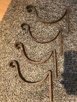 Antique Blacksmith -period , Gutter,beam,basket. Ornate Hand Forged Brackets