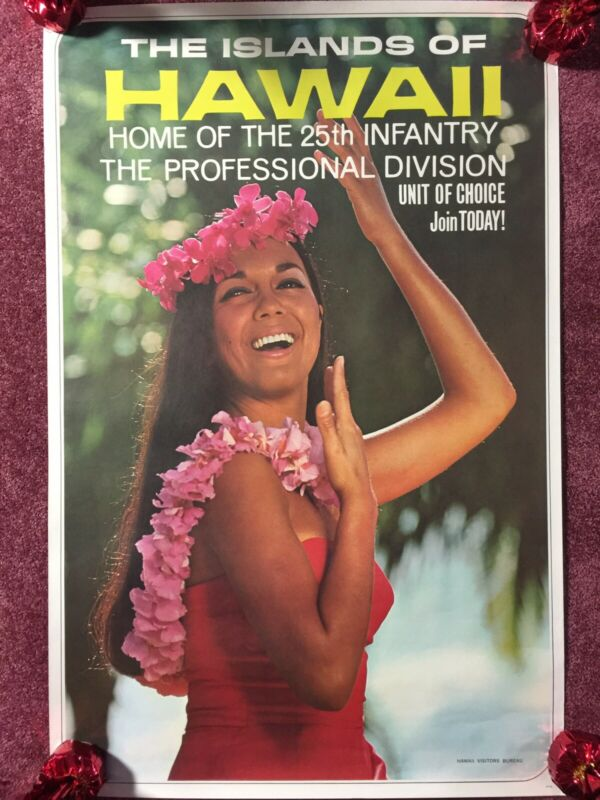 Vietnam Recruiting Hawaii Travel Poster 25th Infantry Division Tropic Lightning