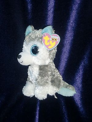 Ty Beanie Boos Slush The Husky Dog Gray White Big Eyes Nwt 6  Non Glitter Eyes