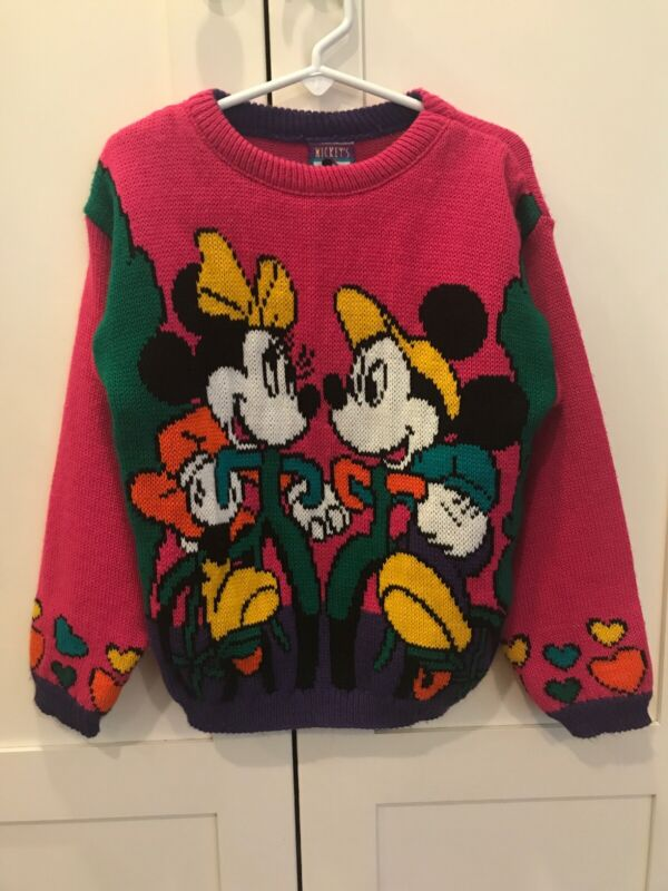 Vintage Mickey & Minnie Mouse Girls Sweater 5t