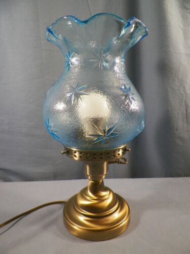 Small Electric Table Lamp w/ Fenton / L.G. Wright Blue Glass STIPPLE STAR Shade