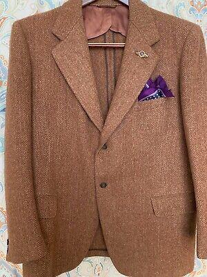 Harris Tweed Beige 100% Scottish Wool Herringbone Blazer Jacket 44R