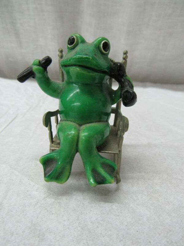 Vintage Collectible Metal & Ceramic Frog in a Rocking Chair Figurine