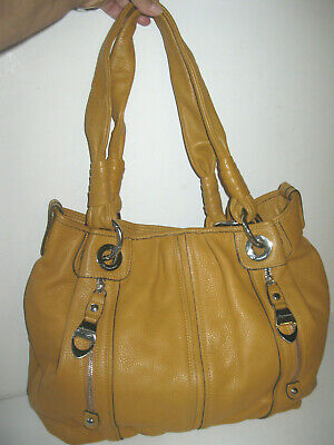 "B Makowsky Soft Pebbled Leather Bag Hobo Tan 3 Section Over Shoulder 17""x12"""