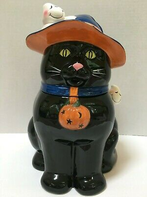 HARRY AND DAVID HALLOWEEN BLACK CAT WITCH HAT GHOSTS 2 PC CERAMIC COOKIE JAR
