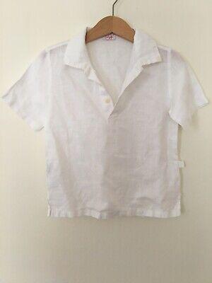 Il Gufo Italian Designer Boys Age 2 White Collared Linen Shirt RRP £81