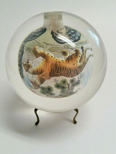 """Round Rock Crystal Inside Painted 5 Hunting Tigers Snuff Bottle - 4.25"""" Diameter"""