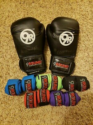9Round Boxing Gloves AND 5 pairs of hand wraps - Sparring Kickboxing