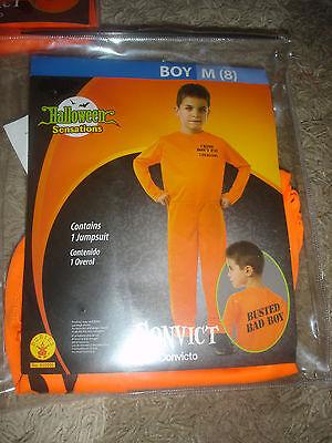 NEW orange Convict jumpsuit Halloween Costume boys M 8 Rubies 610209 - Boys Convict Costume