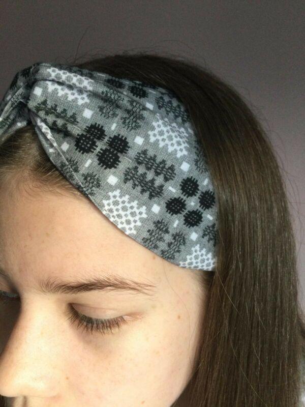 Brand+New+Welsh+Wool+Tapestry+Print+Turban+Headband+FREE+P%26P+100%25+Cotton+Grey
