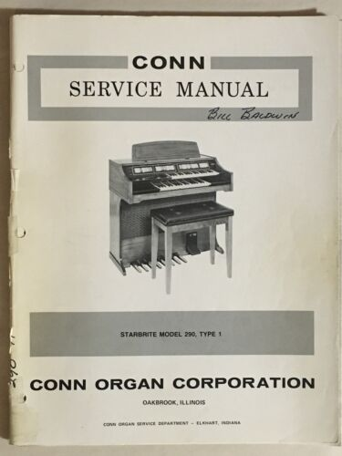Conn Organ Service Manual Starbrite Model 290 Type 1 Schematics