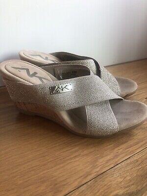 Anne Klein AK Sport Sandals Beige Size 6 Elastic Straps Wedge Heel Sparkle