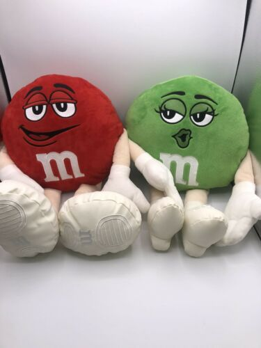 M M s Candy Plush Characters Stuffed Toy Red Male Green Female Lot Of 2 12  - $19.99