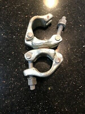 Lot Of 8 Forged Galvanized 2 Scaffoldpipe Swivel Clamps