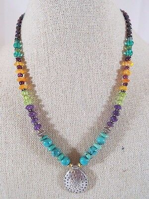 Sterling Silver Pearl Multi-Gemstone & Glass Textured Pendant Necklace Glass Textured Sterling Silver Necklace