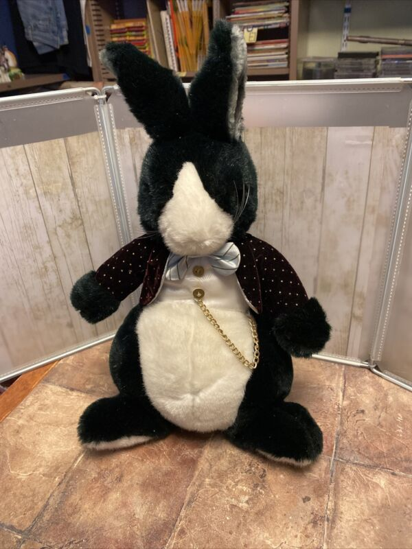 """17"""" VINTAGE 1986 APPLAUSE AFTER EIGHT BUNNY RABBIT STUFFED ANIMAL PLUSH TOY TAG"""