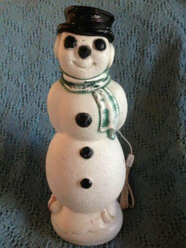 "VNTG 1969 CHRISTMAS EMPIRE 19"" SKATING SNOWMAN BLOW MOLD W/NEW LIGHT (BLACK HAT)"