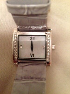 Ladies Watch Platinum Plated With Leather Strap In Gray Snake Skin Design
