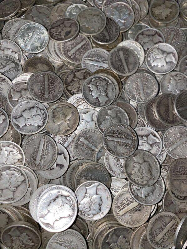 Mercury Dimes (1916-1945) Lot of TEN (10) - 90% Silver - FREE Shipping!
