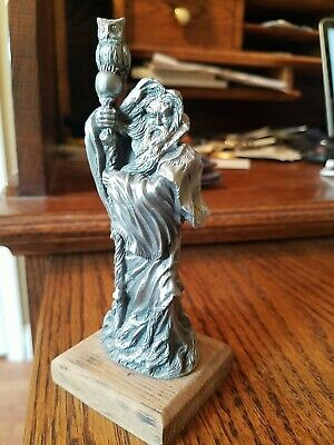 """Wizard Sorcerer With Staff Pewter Figurine Vintage Fantasy Etain 5"""" Tall"""
