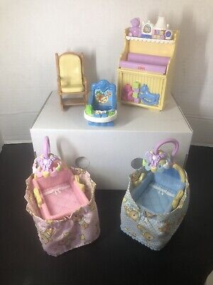 Lot Of Fisher Price Loving Family NURSERY BABY TWINS Doll House Furniture 2007