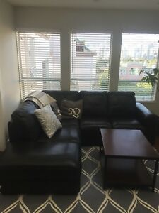 SOFA SASSARI SECTIONAL BLACK LEFT - $500