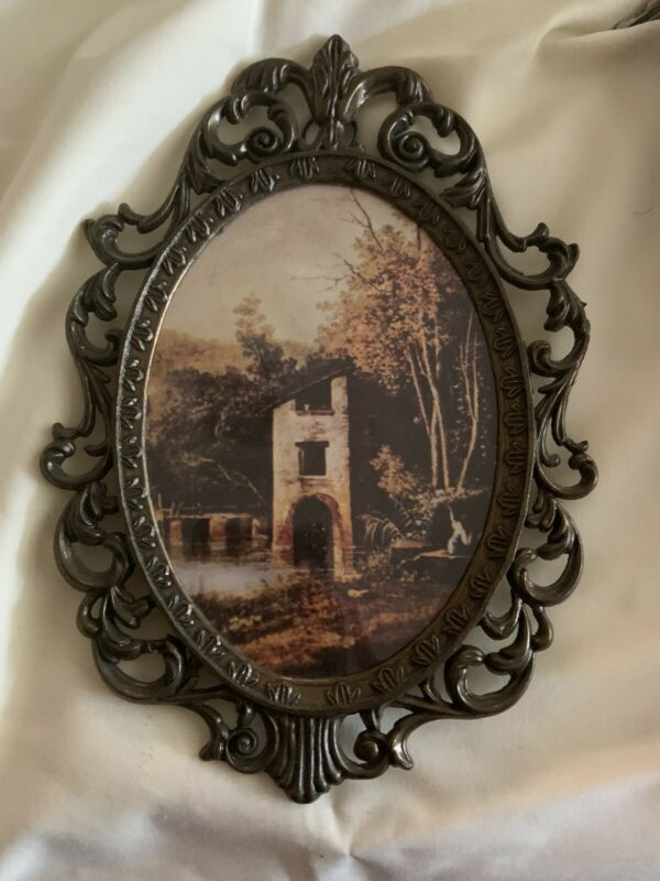 Vintage Small Metal Oval Picture Frame Made in Italy