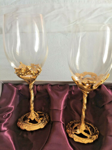 Forever International Set of Gold Dragon and Phoenix Crystal Goblets in Gift Box
