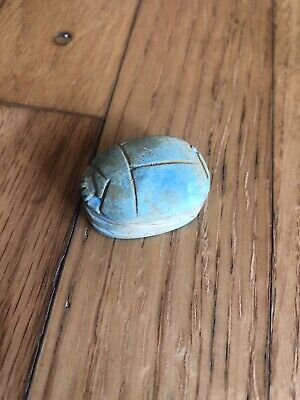 Large Vintage Antique Egyptian Carved Faience Scarab blue Beetle Focal Bead