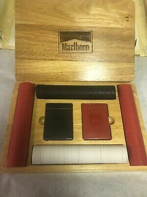 Marlboro Texas Hold Em Poker Chips & Cards  With  Oak Wooden Case - Chips Oak Case