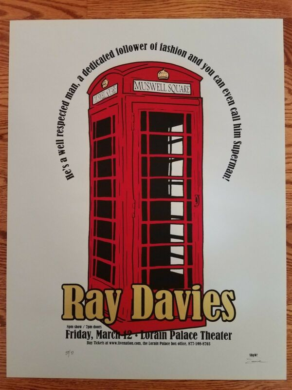 Ray Davies Poster Of the Kinks march 12 Lorain OH