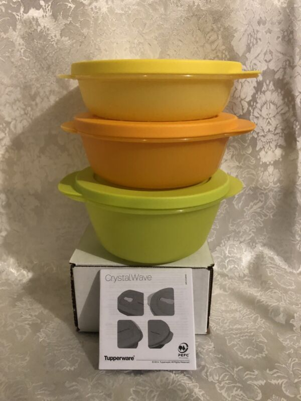 Tupperware 3 Pc Crystalwave Microwave Lunch Bowl Set Rare  3.5, 2.5, 1.75 Cups