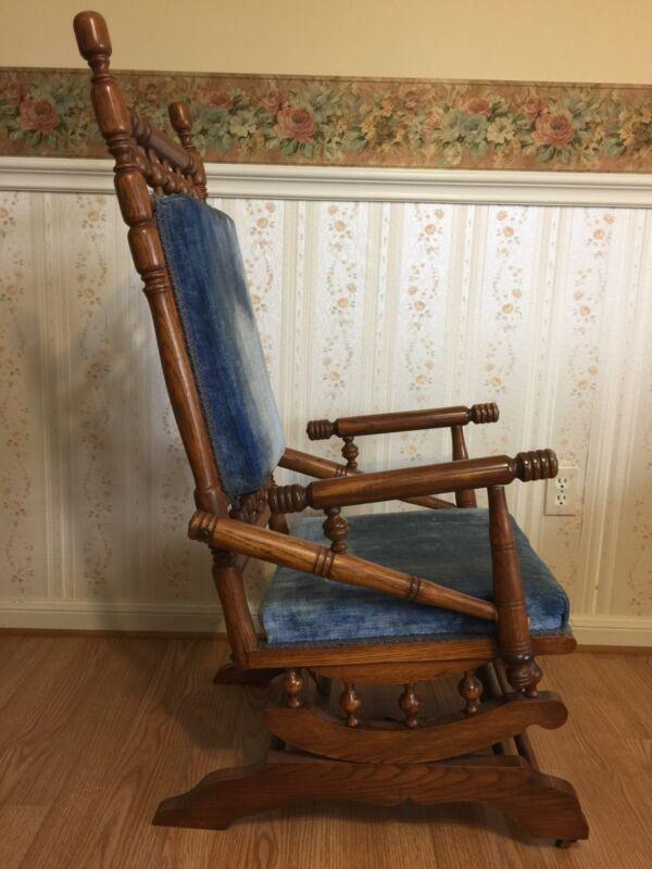 Antique Eastlake Victorian Turned Walnut Platform Rocking Chair c. Late 1800's