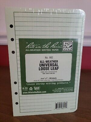 Rite in the Rain #982 All-Weather Universal Loose Leaf, 4 5/8