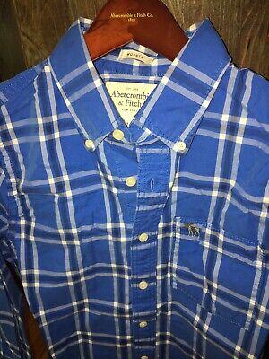 Men's Abercrombie & Fitch Muscle Fit Button down Shirt, Sz L, Blue/white Plaid